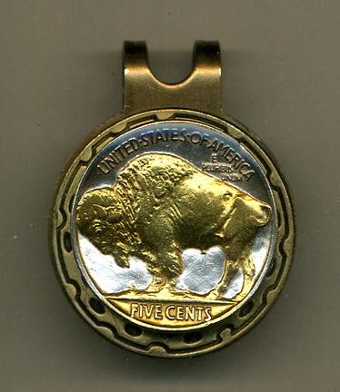 Buffalo Nickel 1913 - 1938 Two Tone Coin Golf Ball Marker