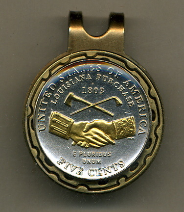 Jefferson Nickel 'Peace Medal' 2004 Two Tone Coin Golf Ball Marker
