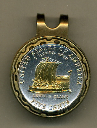 New Jefferson Nickel 'Keel Boat' 2004 Two Tone Coin Golf Ball Marker