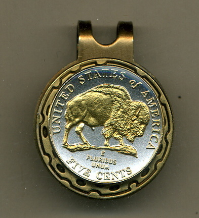 New Jefferson Nickel 'Bison' 2005 Two Tone Coin Golf Ball Marker