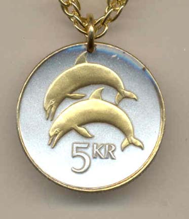 Iceland 5 Kronur Dolphins Two Tone Coin Pendant with 18 Chain