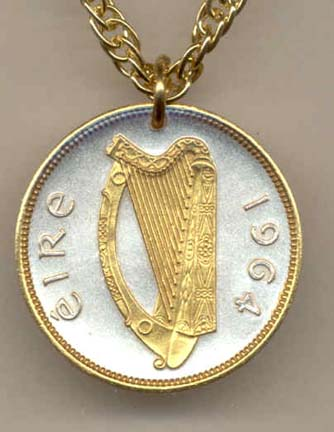 """Irish Penny """"Harp"""" (1964) Two Tone Coin Pendant with 18"""" Chain"""