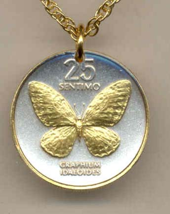 "Philippines 25 Sentimos ""Butterfly"" Two Tone Coin Pendant with 18"" Chain"