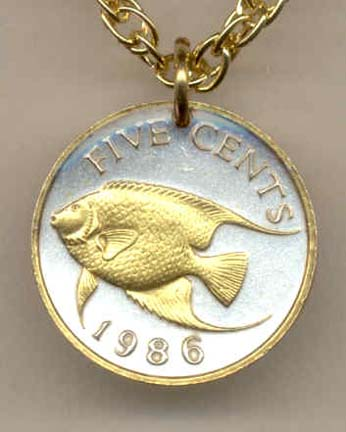 "Bermuda 5 Cent ""Angel Fish"" Two Tone Coin Pendant with 18"" Chain"