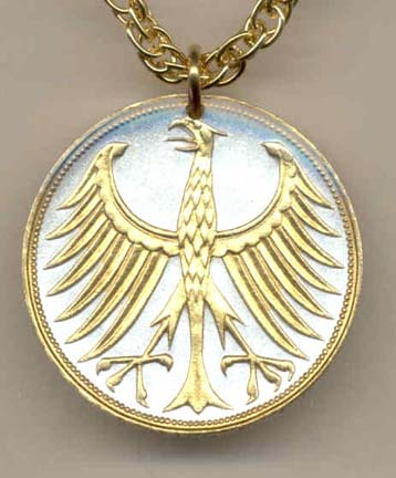 """German 5 Mark Silver Coin """"Eagle"""" Two Tone Coin Pendant with 24"""" Chain"""