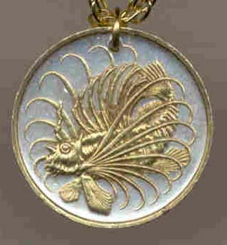 "Singapore 50 Cent ""Lionfish"" Coin Pendant with 24"" Chain"