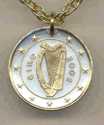 """Ireland One Euro Two Tone Coin Pendant with 18"""" Chain"""