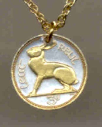 """Ireland 3 Pence """"Rabbit"""" Two Toned Coin Pendant and 18"""" Chain"""