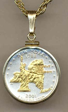 """New York Two Tone Plain Edge Statehood Quarter with 18"""" Rope Necklace"""