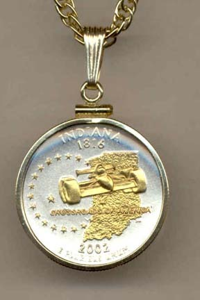 """Indiana Two Tone Plain Edge Statehood Quarter with 18"""" Rope Necklace"""
