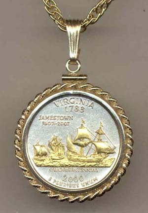 """Virginia Two Tone Rope Bezel Statehood Quarter with 18"""" Rope Necklace"""