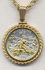 """Mississippi Two Tone Rope Bezel Statehood Quarter with 18"""" Rope Necklace"""