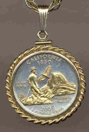 """California Two Tone Rope Bezel Statehood Quarter with 18"""" Rope Necklace"""