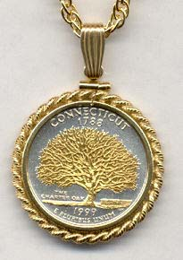 "Connecticut Two Tone Rope Bezel Statehood Quarter with 18"" Rope Necklace"
