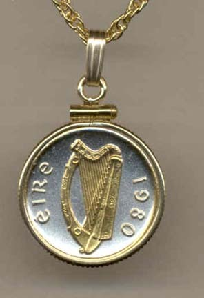 """Irish Penny """"Harp"""" (Dime Size) Two Tone Gold Filled Bezel Coin with 18"""" Necklace"""