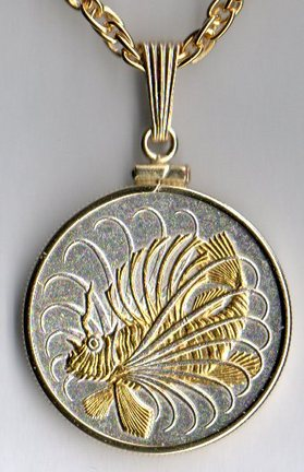 """Singapore 50 Cent """"Lionfish"""" Two Tone Plain Bezel Coin with 24"""" Chain"""