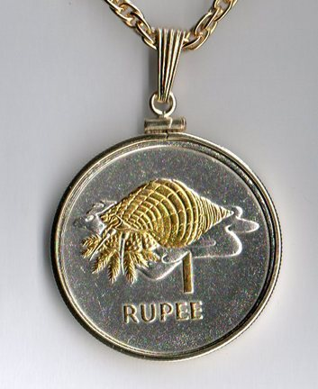 """Seychelles 1 Rupee """"Conch"""" Two Tone Plain Bezel Coin with 24"""" Chain"""