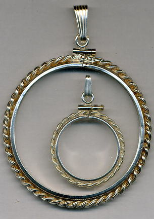 Rope Style Simulated Sterling Silver Coin Necklace Bezel / Pendant (Half Dollar Size)