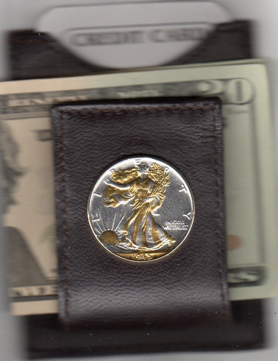 U.S. Walking Liberty Silver Half Dollar (1916 - 1947) Two Tone Coin Folding Money Clip with Silver Highlights JJJ-W-30FMC