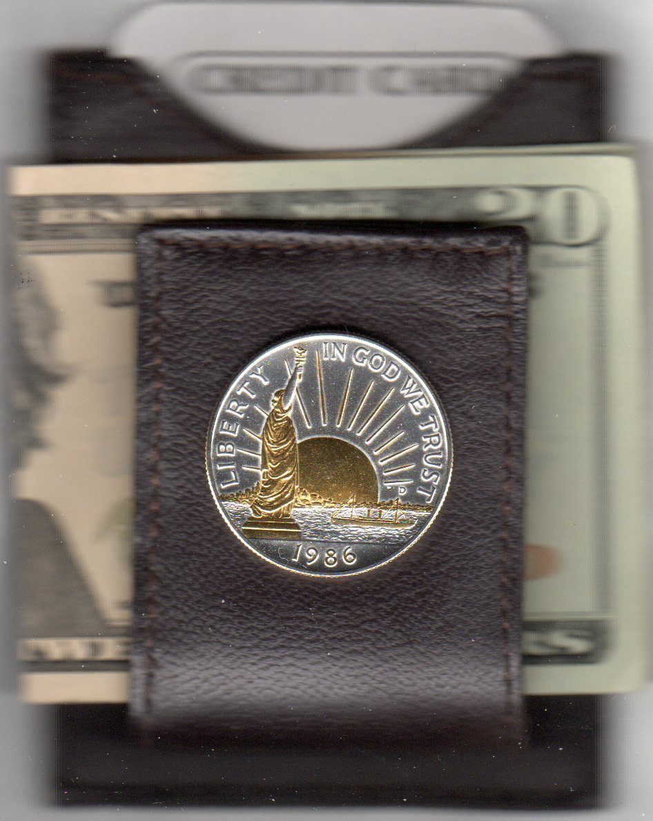 U.S. Statue of Liberty Half Dollar (1986) Two Tone Coin Folding Money Clip with Silver Highlights JJJ-W-85FMC