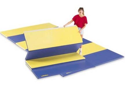 "6' x 12' 2"" Bonded Foam Red / Royal Blue Folding Mat"