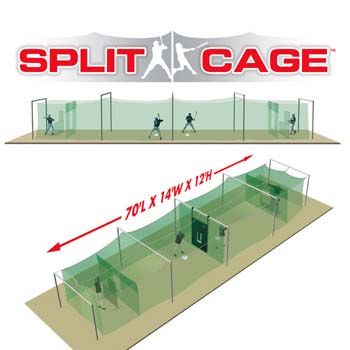 Outdoor Split Cage™ Batting Cage Package for Baseball Sports Gear