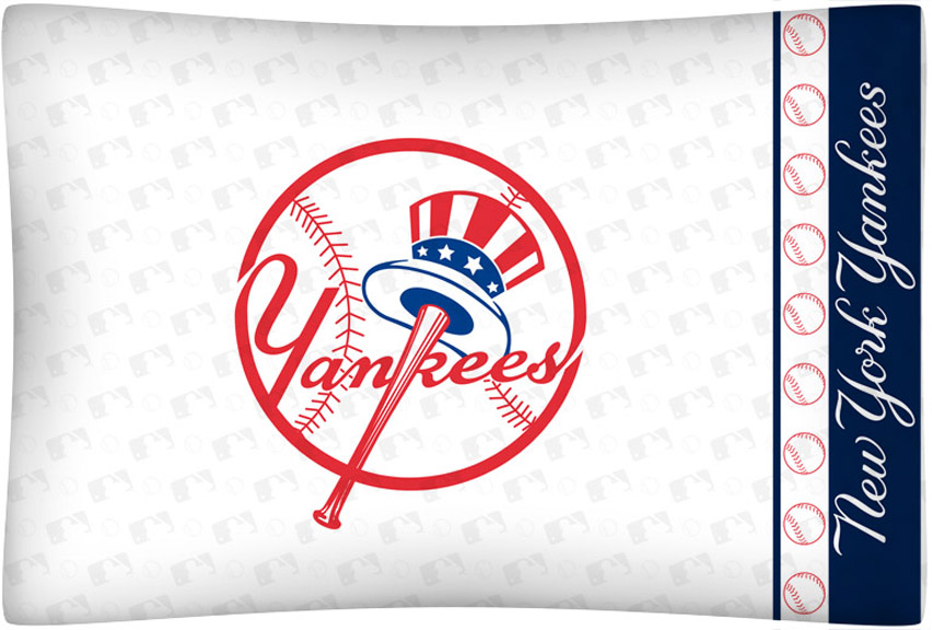 New York Yankees Micro Fiber Standard Pillow Case From Kentex (Top Hat Logo)