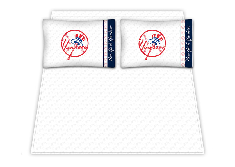New York Yankees Micro Fiber Full Sheet Set By Kentex (top Hat Logo)