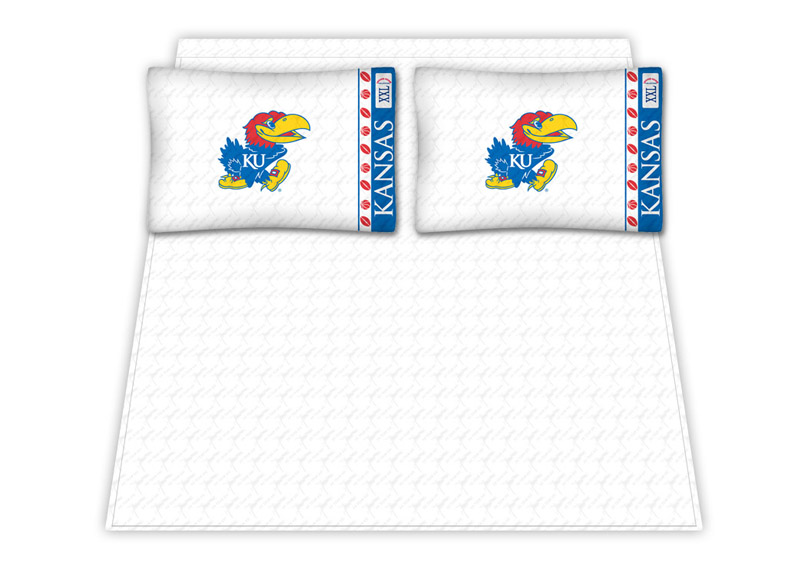 Kansas Jayhawks Micro Fiber Full Sheet Set by Kentex KEN-04MFSHS4KSUFULL