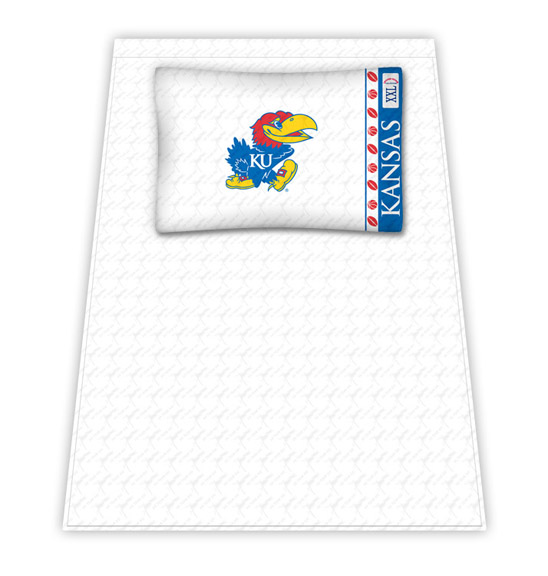 Kansas Jayhawks Micro Fiber Twin Sheet Set by Kentex KEN-04MFSHS4KSUTWIN