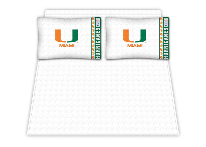 Miami Hurricanes Micro Fiber Full Sheet Set by Kentex KEN-04MFSHS4MIAFULL