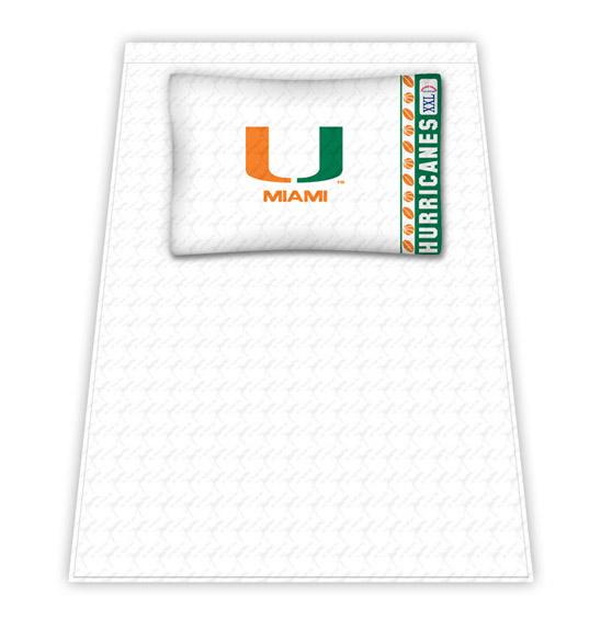 Miami Hurricanes Micro Fiber Twin Sheet Set by Kentex KEN-04MFSHS4MIATWIN
