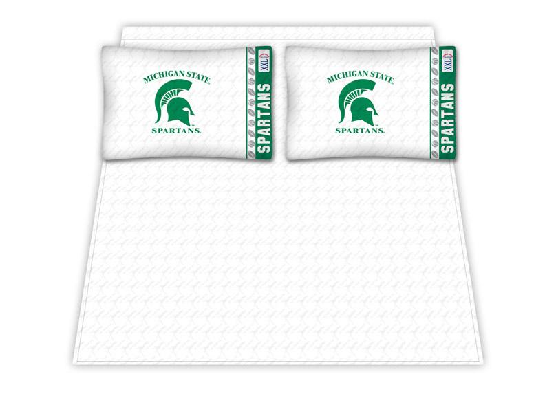Michigan State Spartans Micro Fiber Full Sheet Set By Kentex