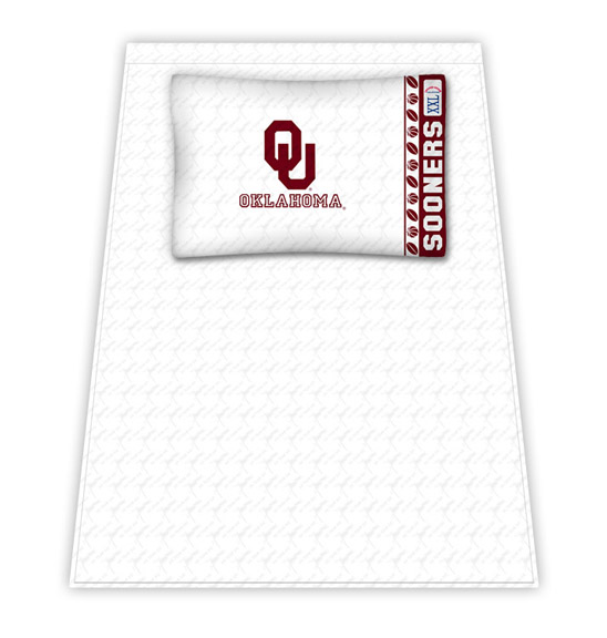 Oklahoma Sooners Micro Fiber Twin Sheet Set by Kentex KEN-04MFSHS4OKUTWIN