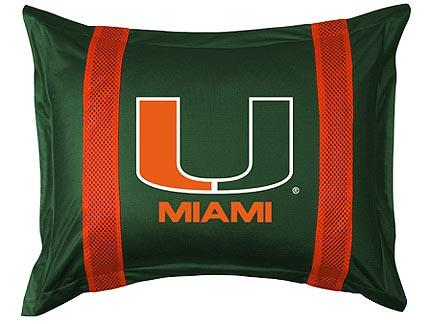 """Miami Hurricanes Pillow Sham from """"The Sidelines Collection"""" by Kentex"""