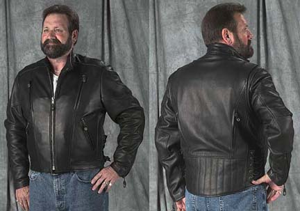 Men's Naked Leather Vented Jacket with Crop Collar (Extended Sizes 4X-Large)