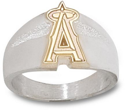 Los Angeles Angels of Anaheim 5/8in 10KT Gold 'A' on Sterling Silver Men's Ring (Size 10 1/2)