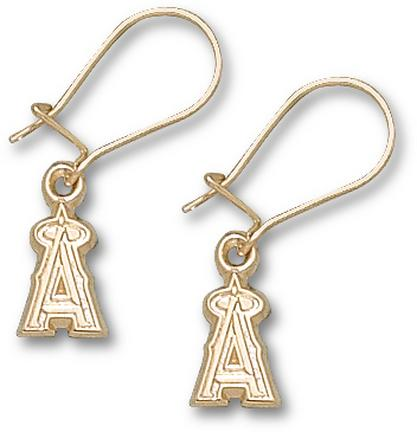 Los Angeles Angels of Anaheim 3/8in 'A' Dangle Earrings - 10KT Gold Jewelry