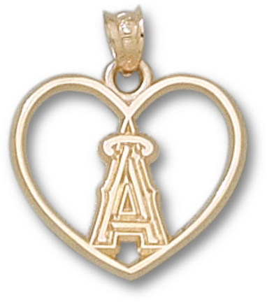 Los Angeles Angels of Anaheim 'A' Heart Pendant - 10KT Gold Jewelry