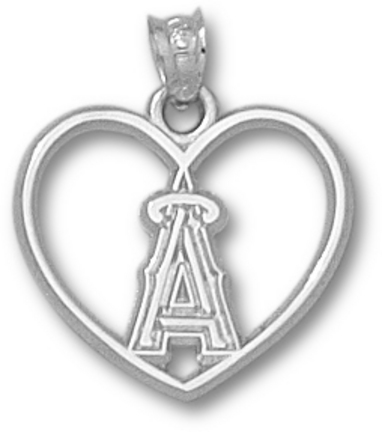 Los Angeles Angels of Anaheim 'A' Heart Pendant - Sterling Silver Jewelry