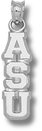 """Appalachian State Mountaineers Vertical """"ASU"""" Pendant - Sterling Silver Jewelry"""