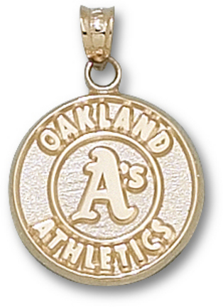 Oakland Athletics 5/8in Round Logo Pendant - 10KT Gold Jewelry