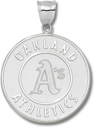 Oakland Athletics Giant 1 1/2in W x 1 1/2in H 'Athletics Logo' Pendant - Sterling Silver Jewelry
