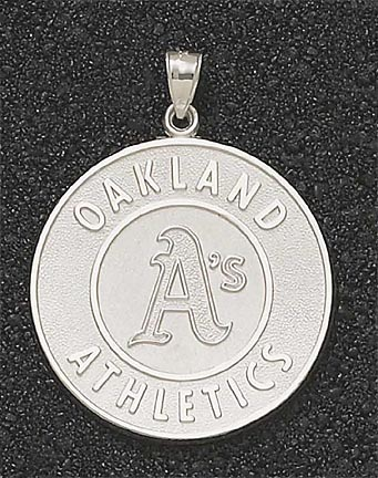 Oakland Athletics Giant 1 1/2in W x 1 1/2in H 'Athletics Logo' Pendant - 10KT Gold Jewelry. The Image just shows the design.