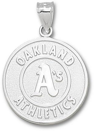 Oakland Athletics 1 inch Round Logo Pendant - Sterling Silver Jewelry