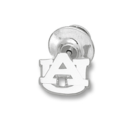 "Auburn Tigers 3/8"" ""AU"" Polished Lapel Pin - Sterling Silver Jewelry"
