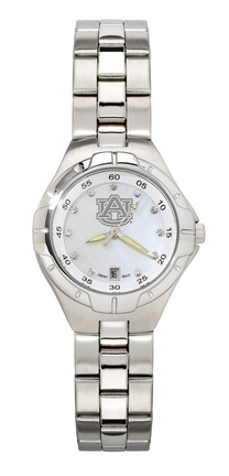 Auburn Tigers 'AU' Woman's Bracelet Watch with Mother of Pearl Dial