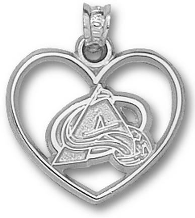 Colorado Avalanche Logo Heart Pendant Sterling Silver Jewelry