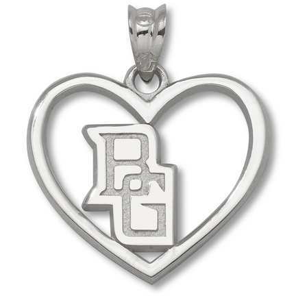 Bowling Green State Falcons 5/8 Bg Pierced Heart Pendant Sterling Silver Jewelry