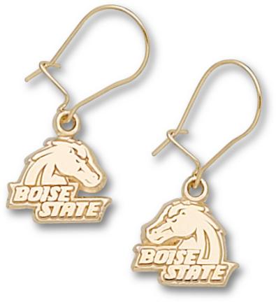 "Boise State Broncos 3/8″ ""Boise State"" Bronco Head Dangle Earrings – 10KT Gold Jewelry"